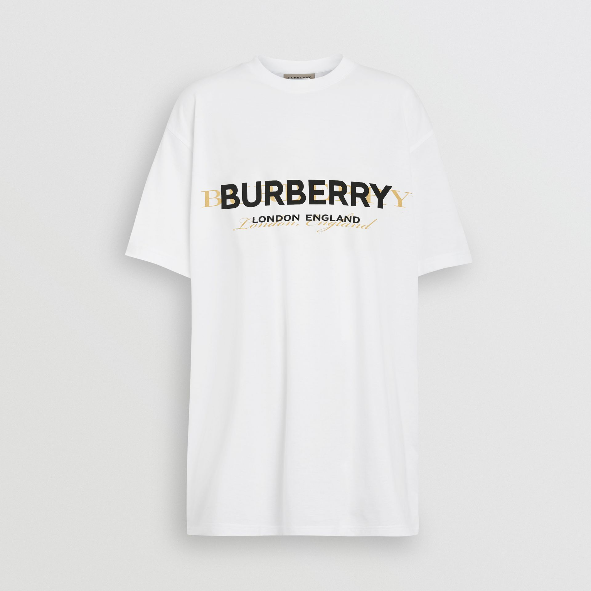 Double Logo Print Cotton Oversized T-shirt in White - Women | Burberry - gallery image 3