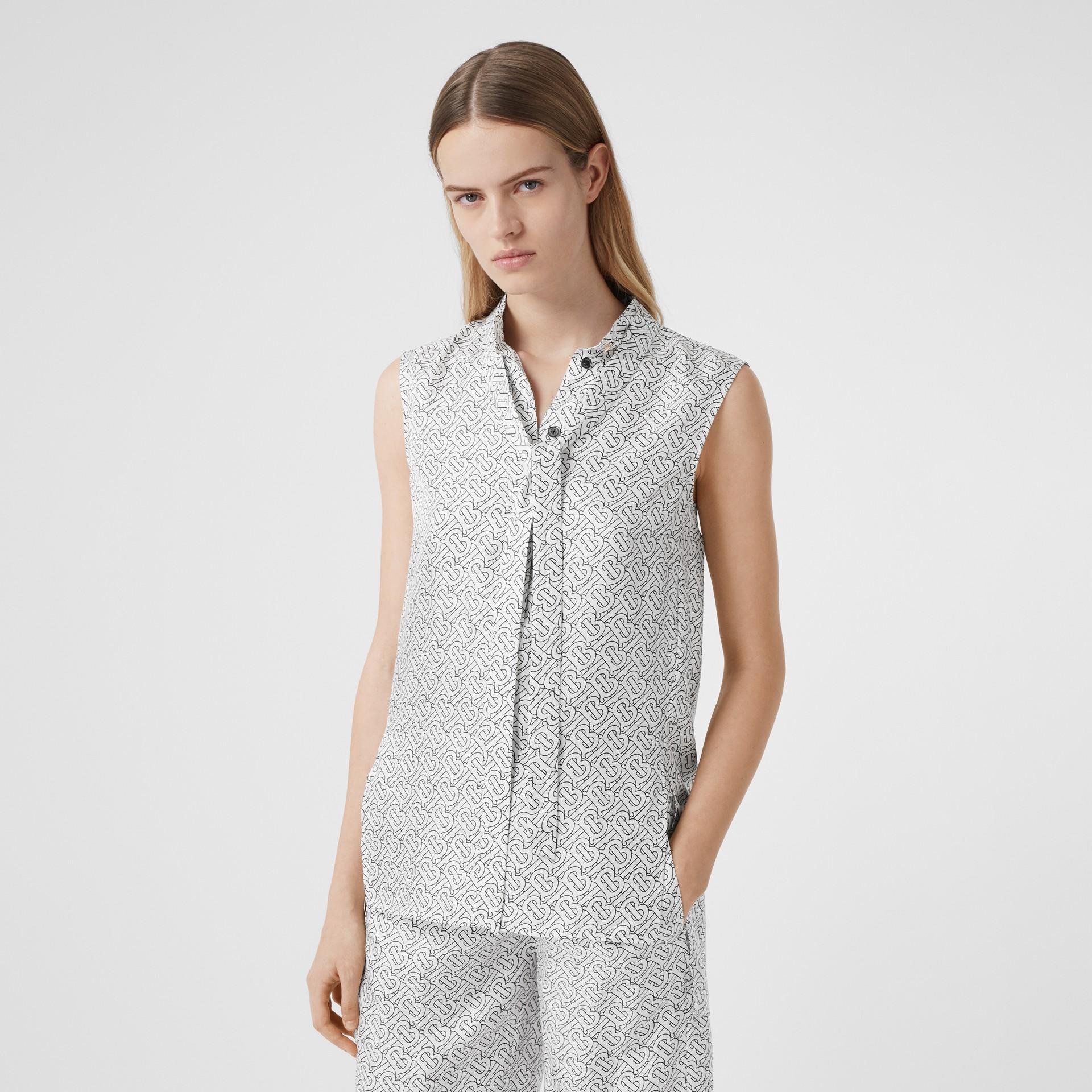 Sleeveless Monogram Print Silk Tie-neck Shirt in White - Women | Burberry - gallery image 4