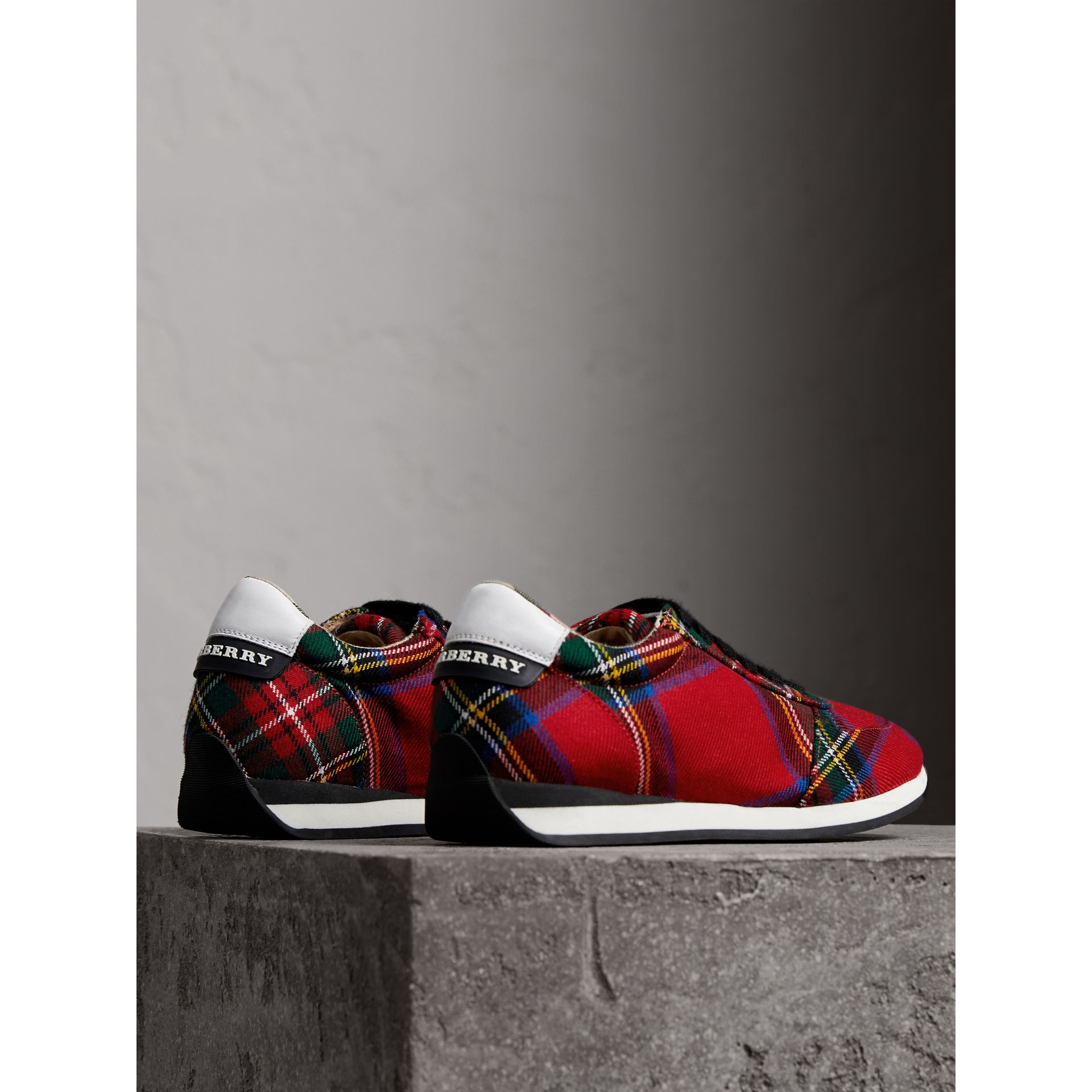 Tartan Wool Trainers in Bright Red - Women | Burberry - gallery image 4