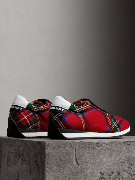 Tartan Wool Trainers in Bright Red - Women | Burberry - cell image 3