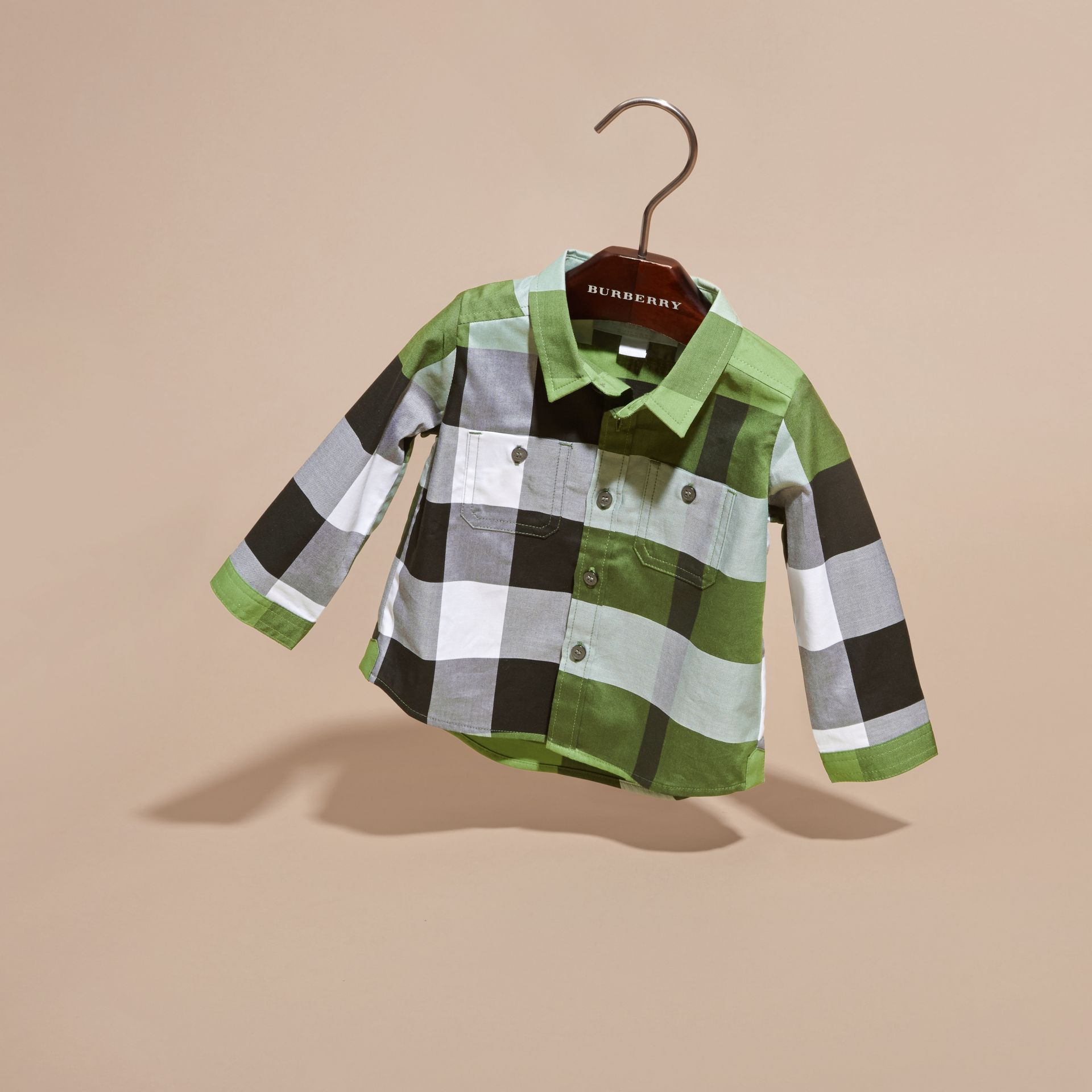 Bright fern green Check Cotton Shirt Bright Fern Green - gallery image 3