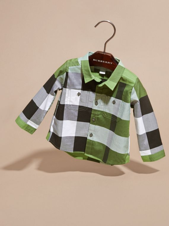 Verde felce brillante Camicia in cotone con motivo check Verde Felce Brillante - cell image 2