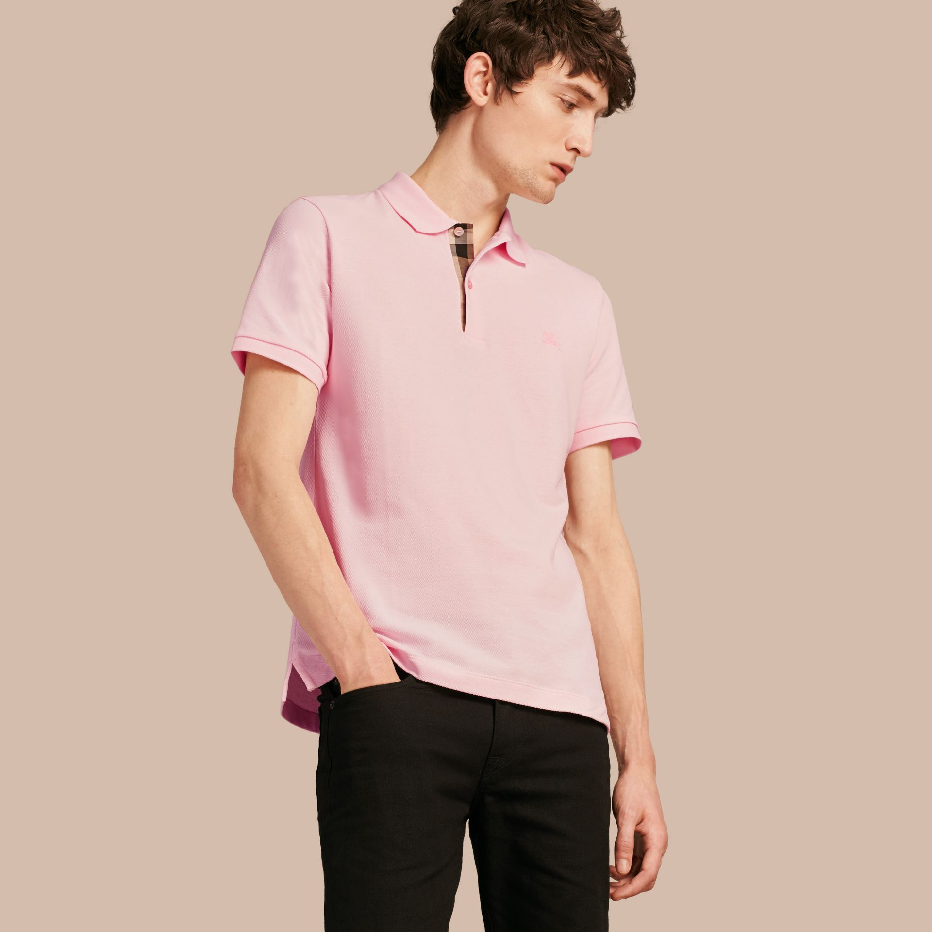 Check Placket Cotton Piqué Polo Shirt in City Pink - gallery image 1