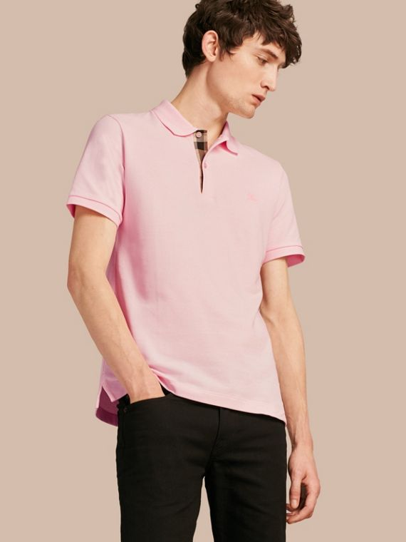 Check Placket Cotton Piqué Polo Shirt in City Pink