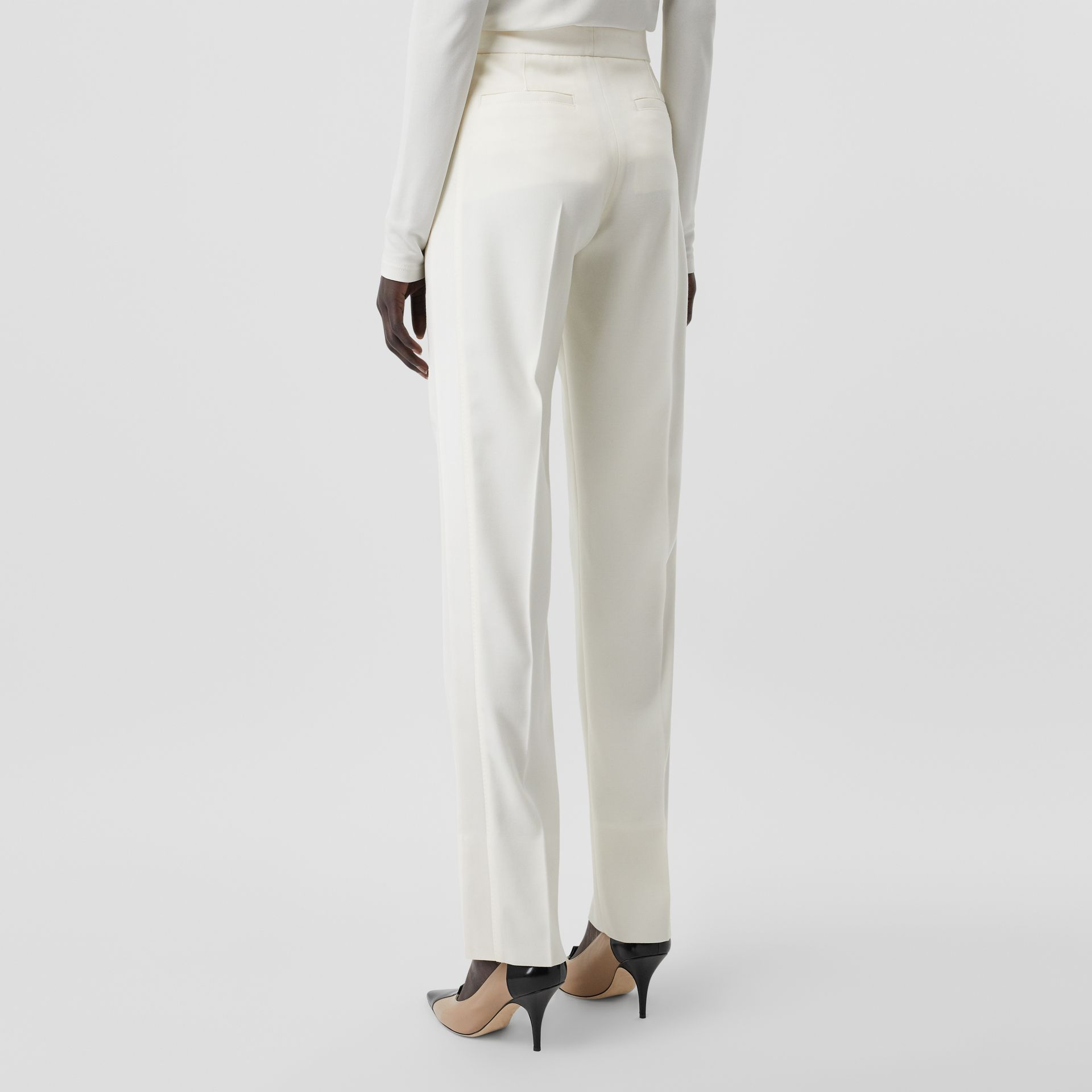 Satin Stripe Detail Wool Tailored Trousers in Natural White - Women | Burberry - gallery image 2