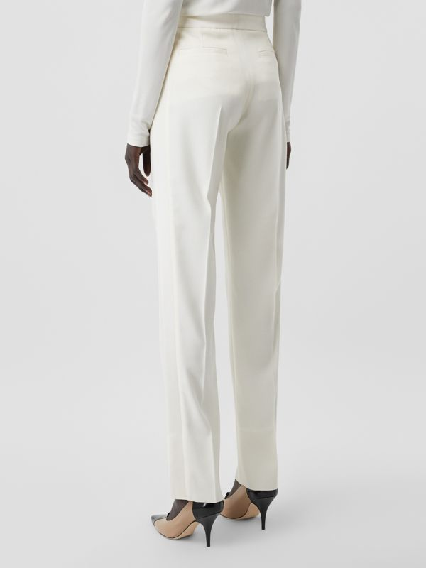 Satin Stripe Detail Wool Tailored Trousers in Natural White - Women | Burberry - cell image 2
