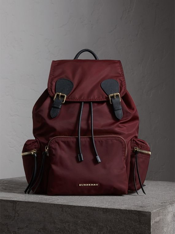 The Large Rucksack in Technical Nylon and Leather in Burgundy Red