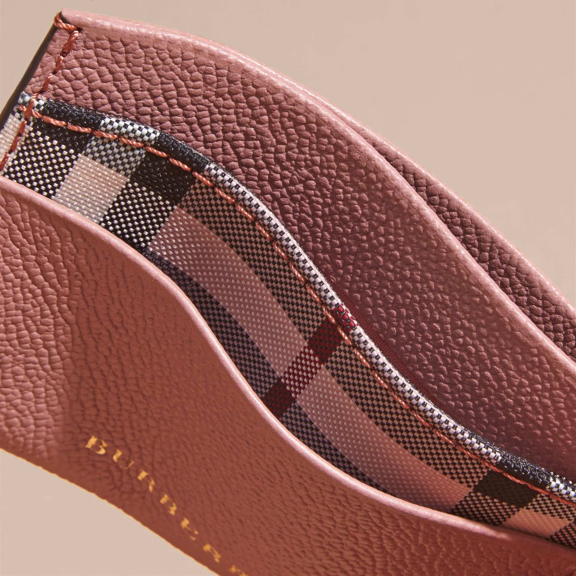 Check and Leather Card Case Ash Rose/ Dusty Pink - gallery image 5