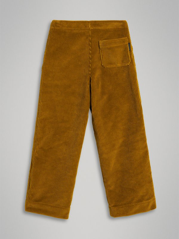 Corduroy Wide-leg Trousers in Ochre | Burberry Singapore - cell image 3
