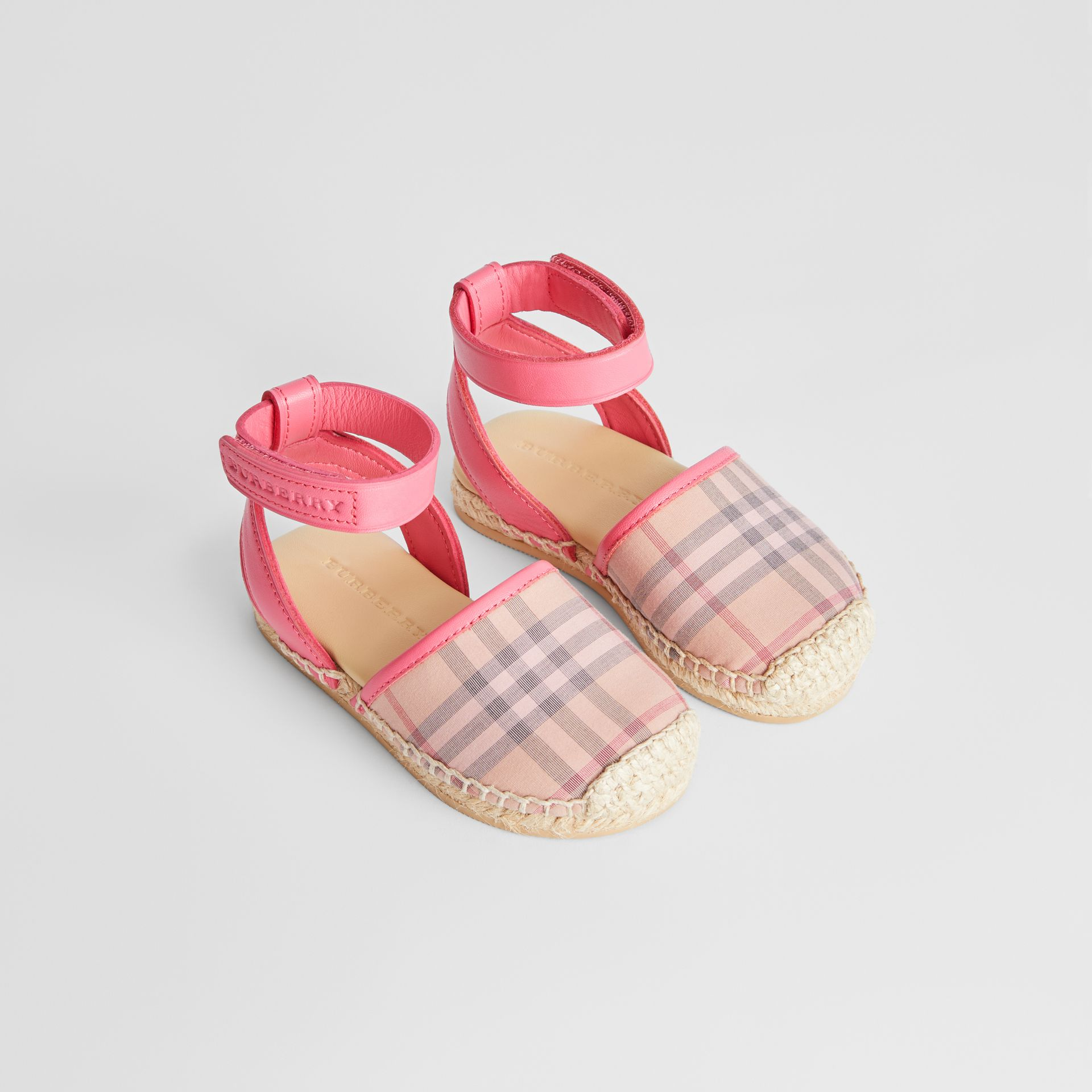 Check and Leather Espadrille Sandals in Bright Rose - Children | Burberry - gallery image 0