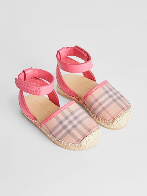 Check and Leather Espadrille Sandals in Bright Rose