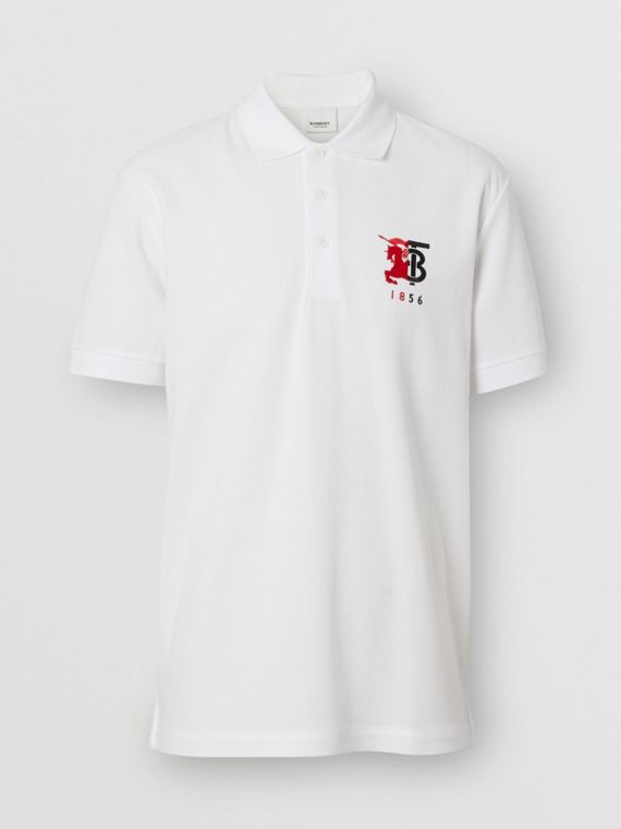 Contrast Logo Graphic Cotton Piqué Polo Shirt in White