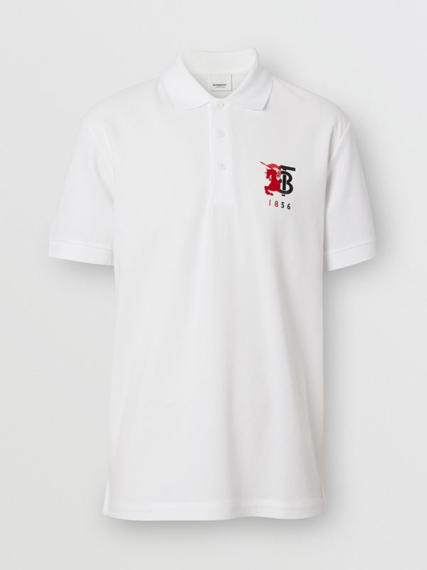 Contrast Logo Graphic Cotton Piqué Polo Shirt in White - Men | Burberry - cell image 3