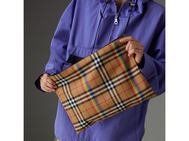 Large Rainbow Vintage Check Pouch in Dark Grey | Burberry United Kingdom - cell image 4