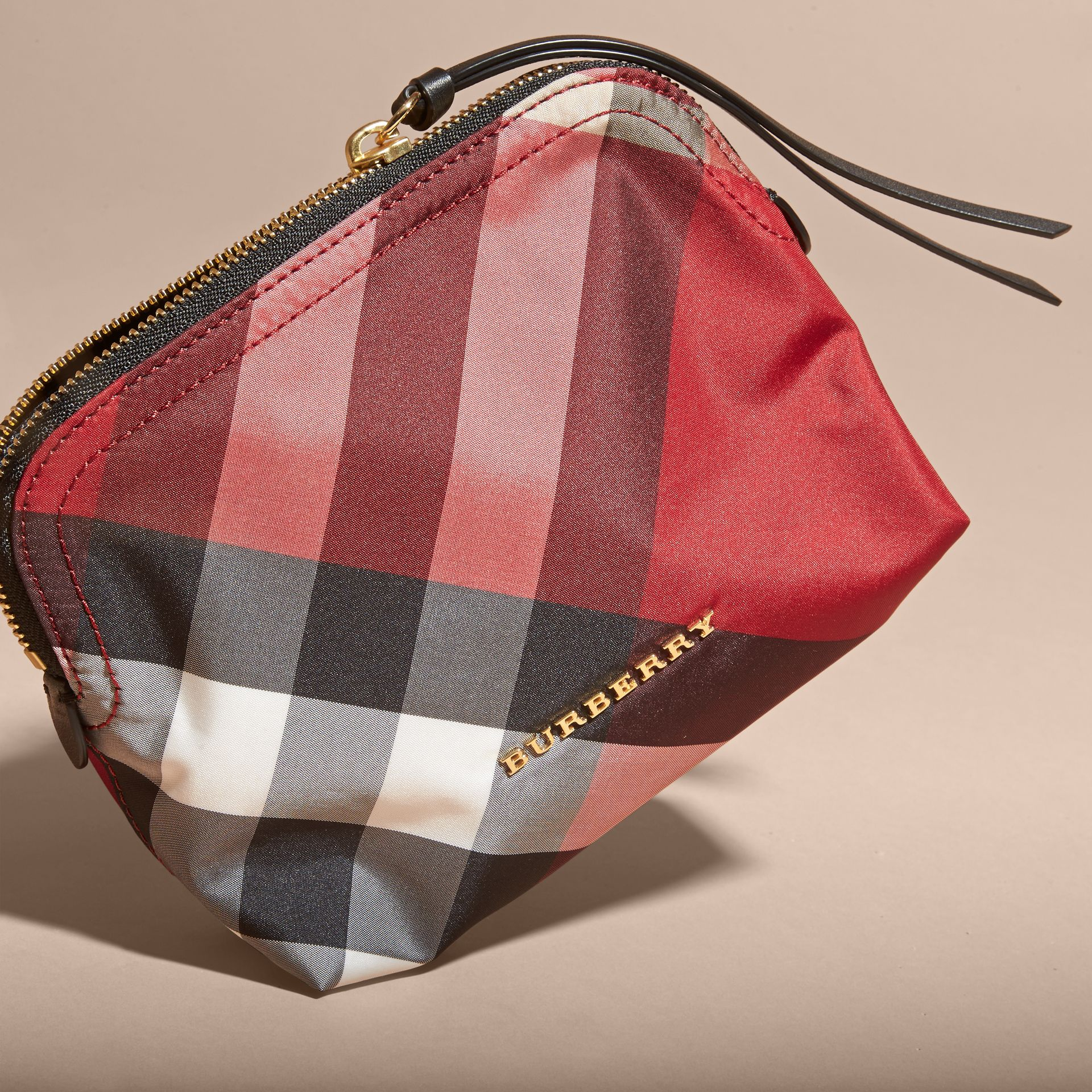 Medium Zip-top Check Technical Pouch in Parade Red - Women | Burberry - gallery image 3