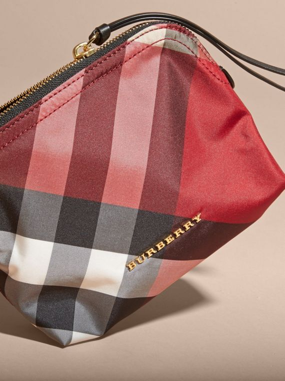 Medium Zip-top Check Technical Pouch in Parade Red - Women | Burberry - cell image 2