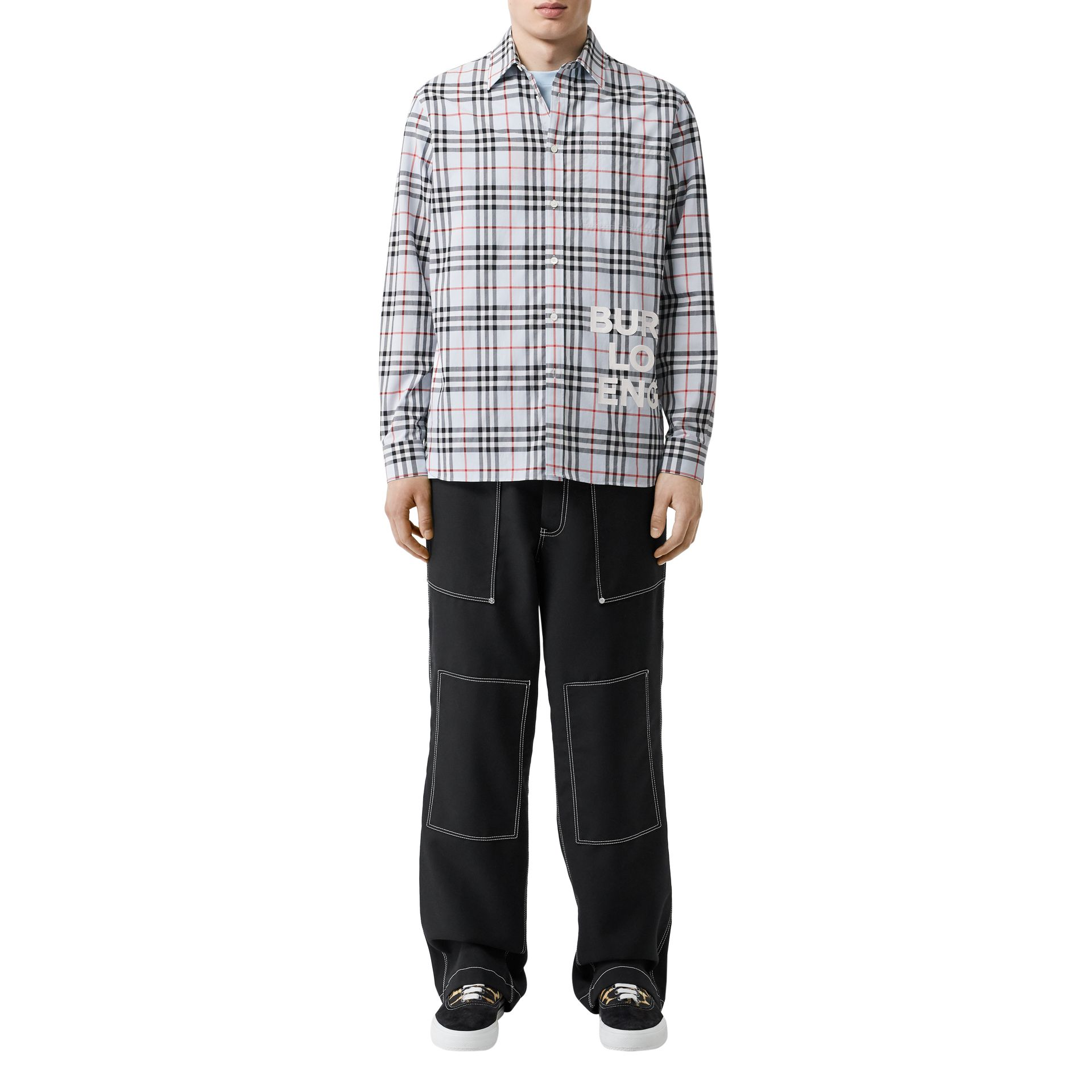 Logo Print Check Cotton Oversized Shirt in Pale Blue - Men | Burberry Hong Kong S.A.R - gallery image 5