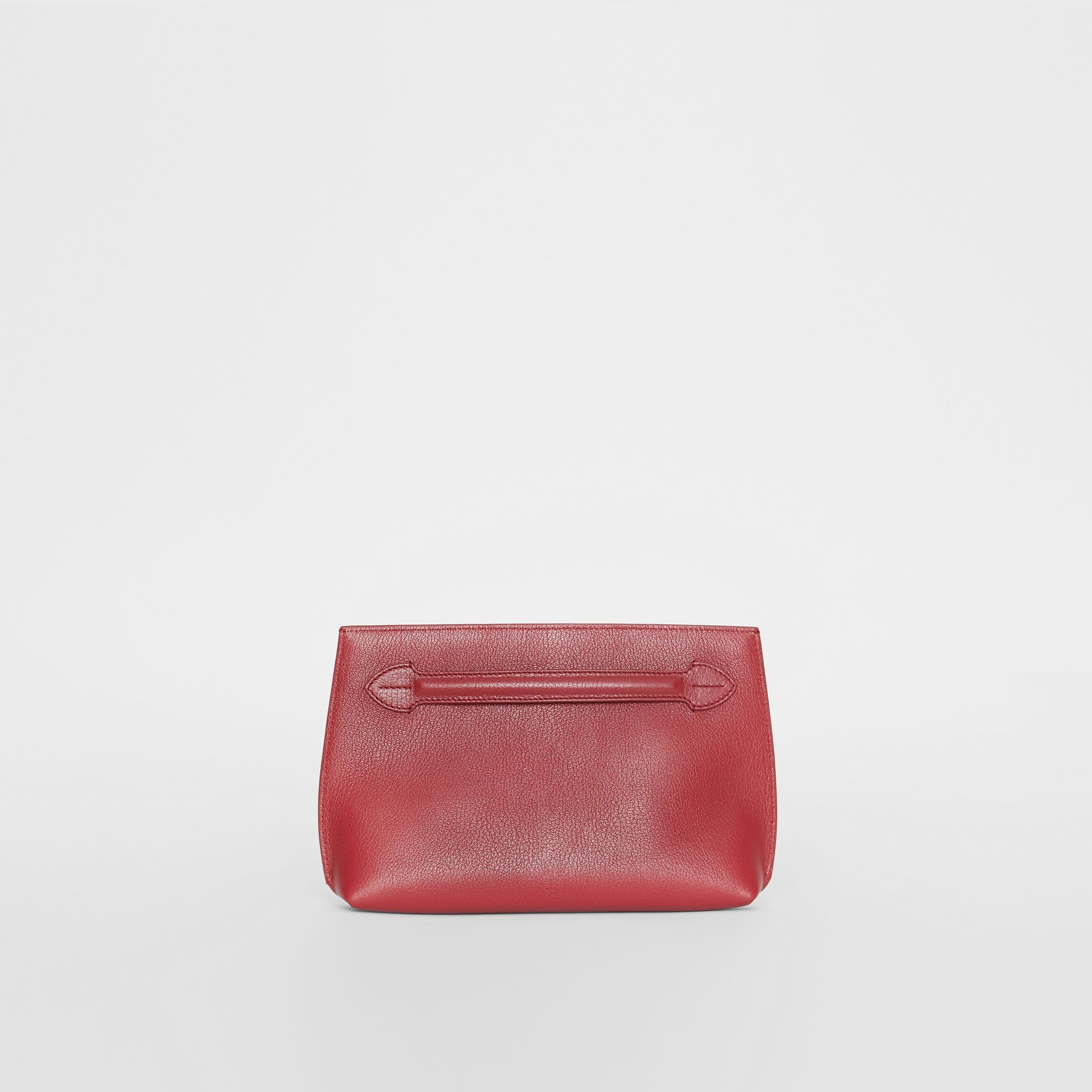 Grainy Leather Wristlet Clutch in Crimson - Women | Burberry United States - gallery image 0