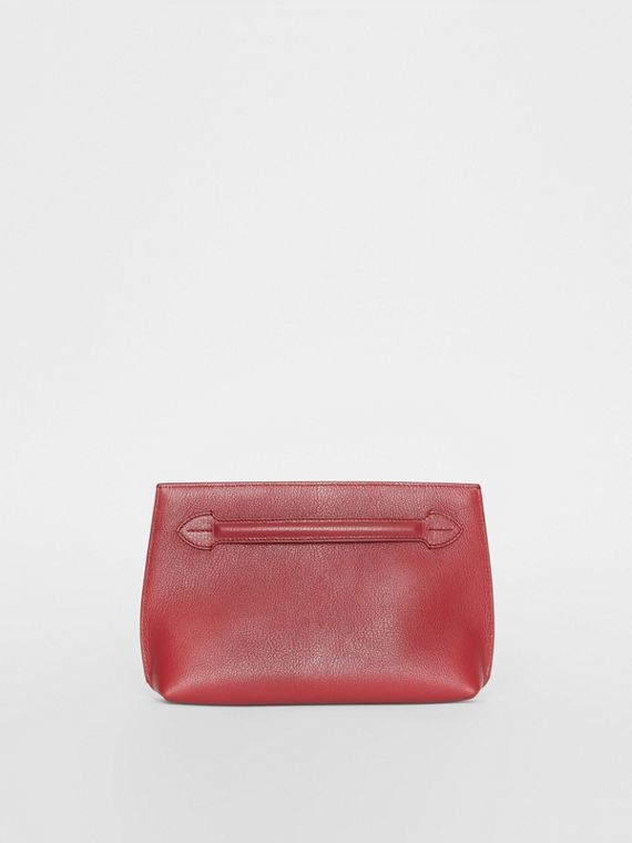 Grainy Leather Wristlet Clutch in Crimson