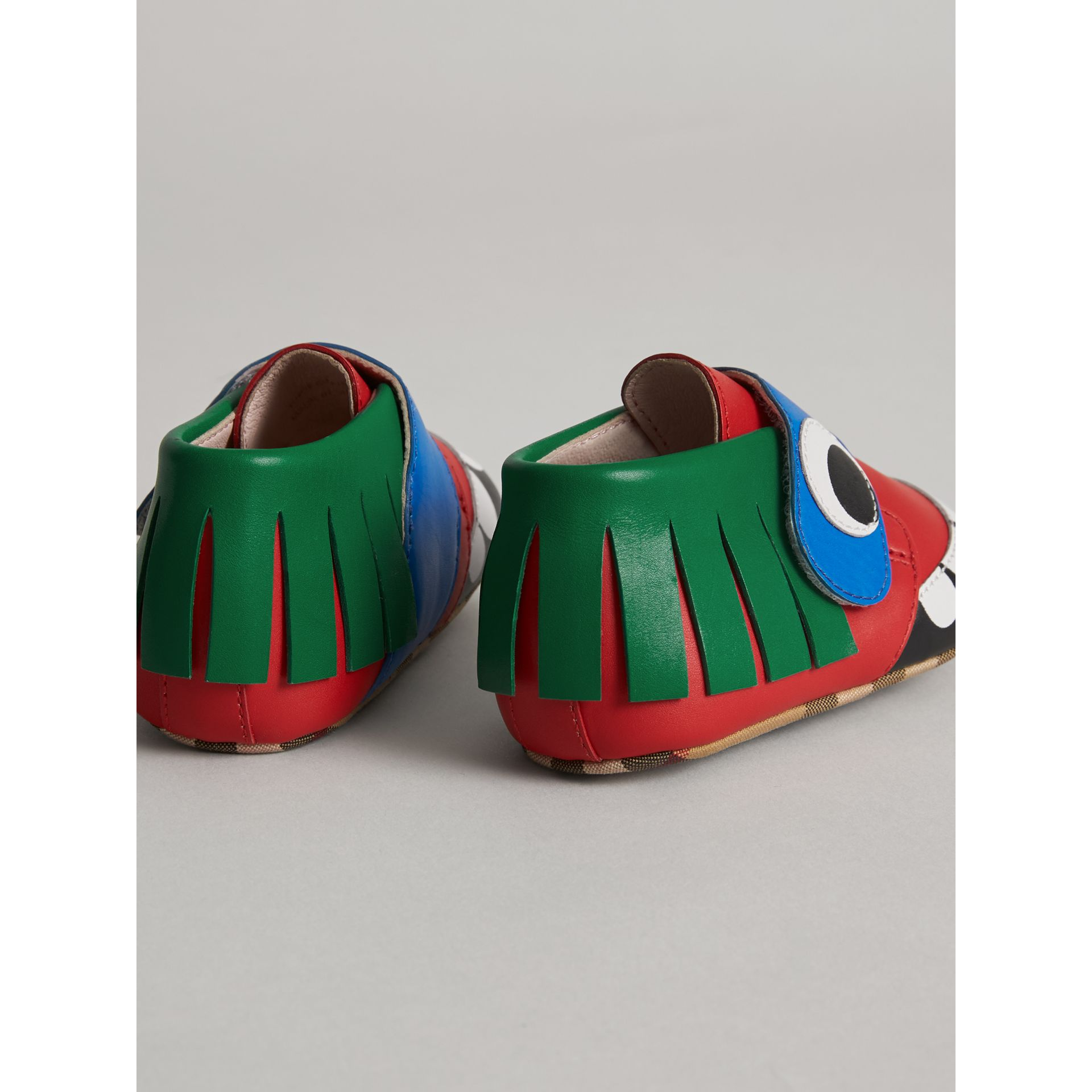 Monster Motif Leather Shoes in Bright Red - Children | Burberry United States - gallery image 2