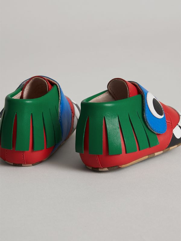 Monster Motif Leather Shoes in Bright Red - Children | Burberry United Kingdom - cell image 2