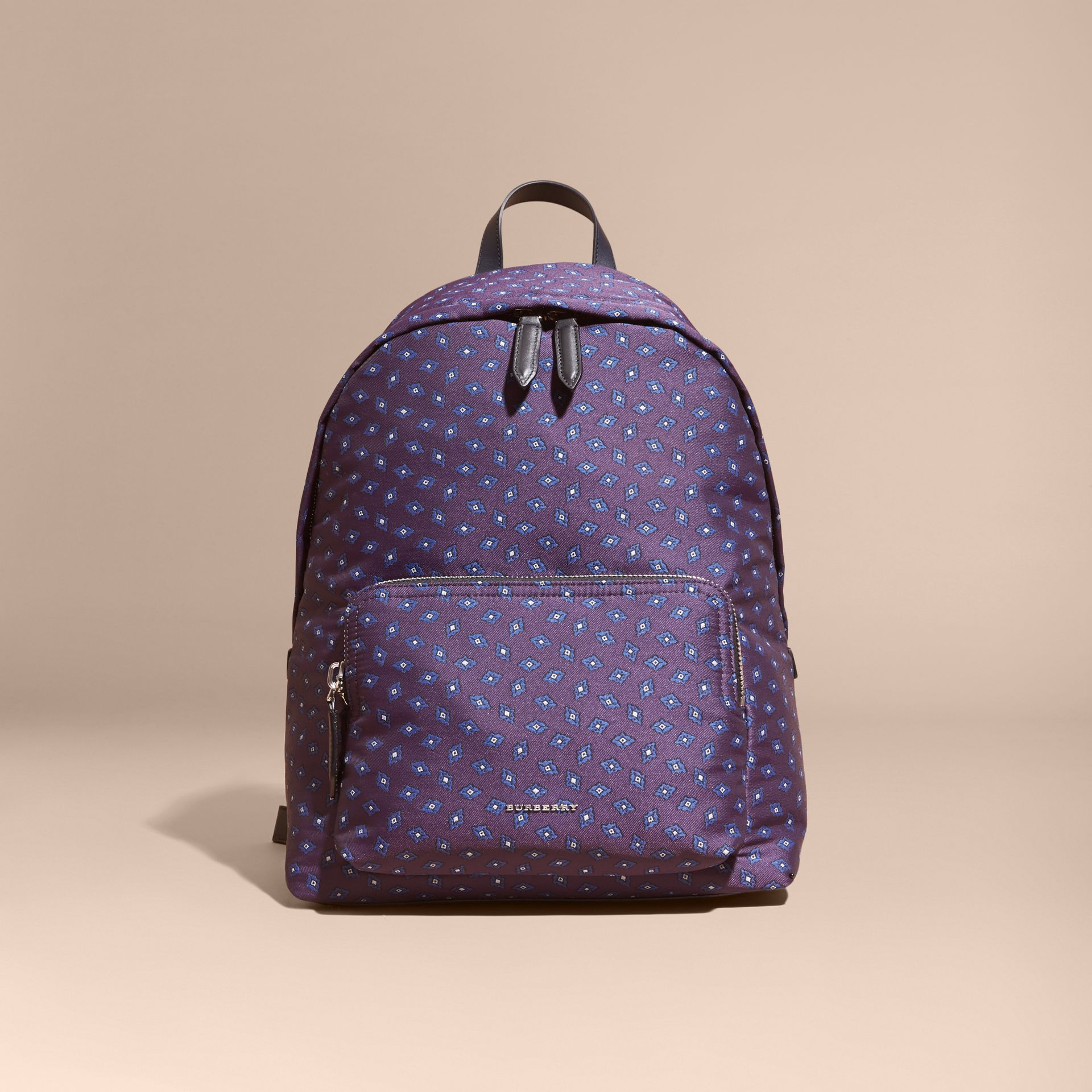 Deep aubergine Leather Trim Abstract Jacquard Backpack Deep Aubergine - gallery image 8