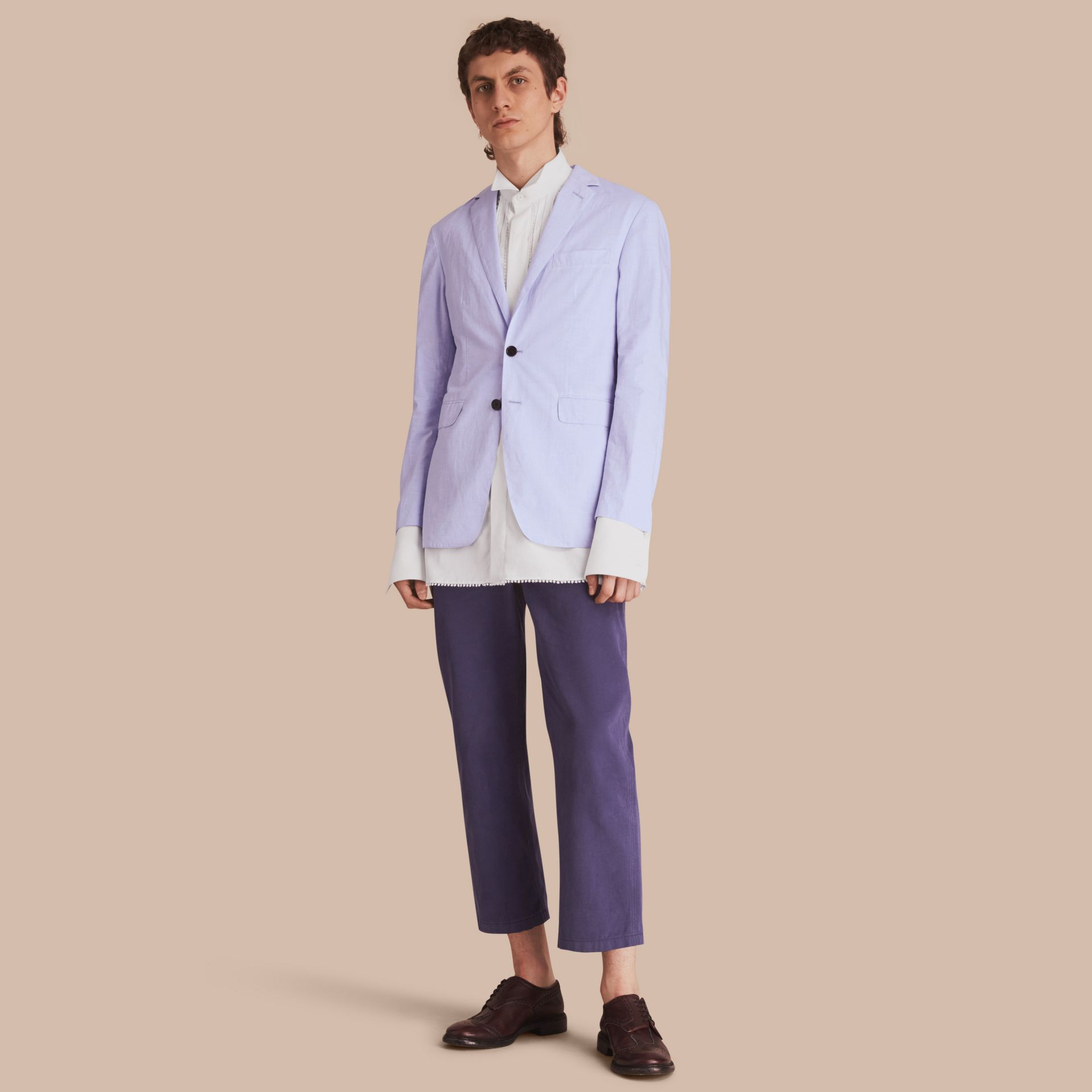 Lightweight Cotton Chambray Blazer - gallery image 1