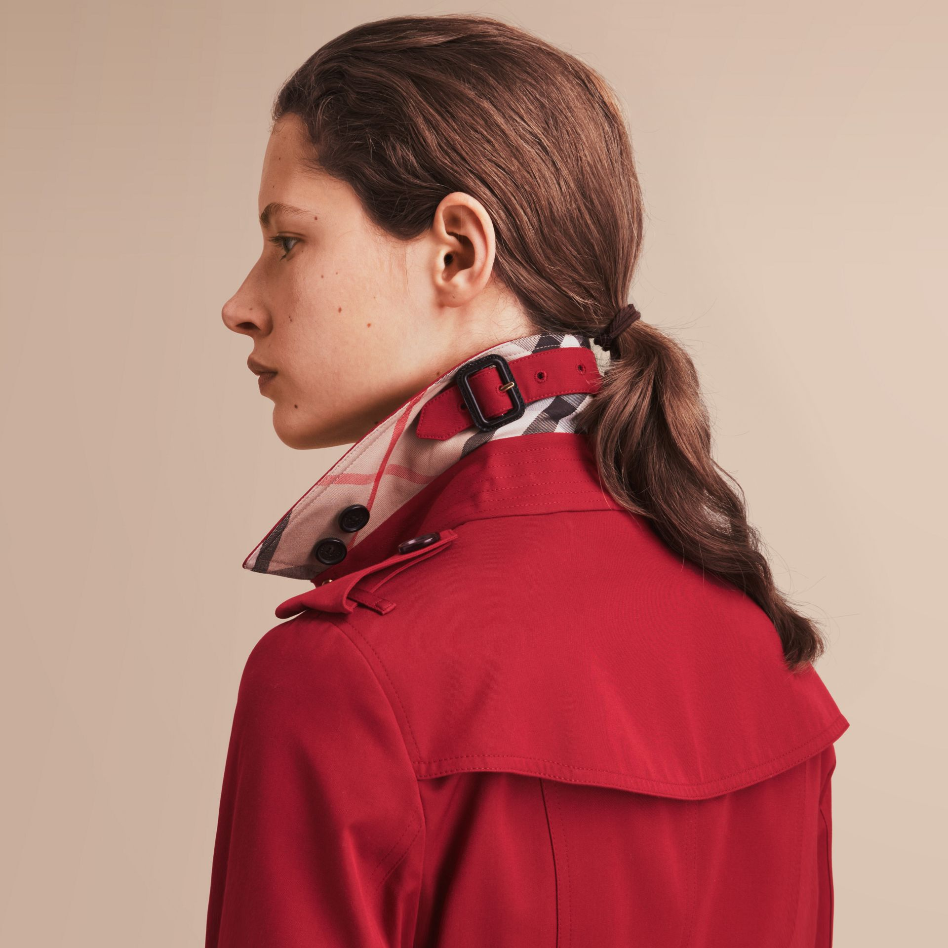 The Sandringham – Short Heritage Trench Coat in Parade Red - gallery image 5