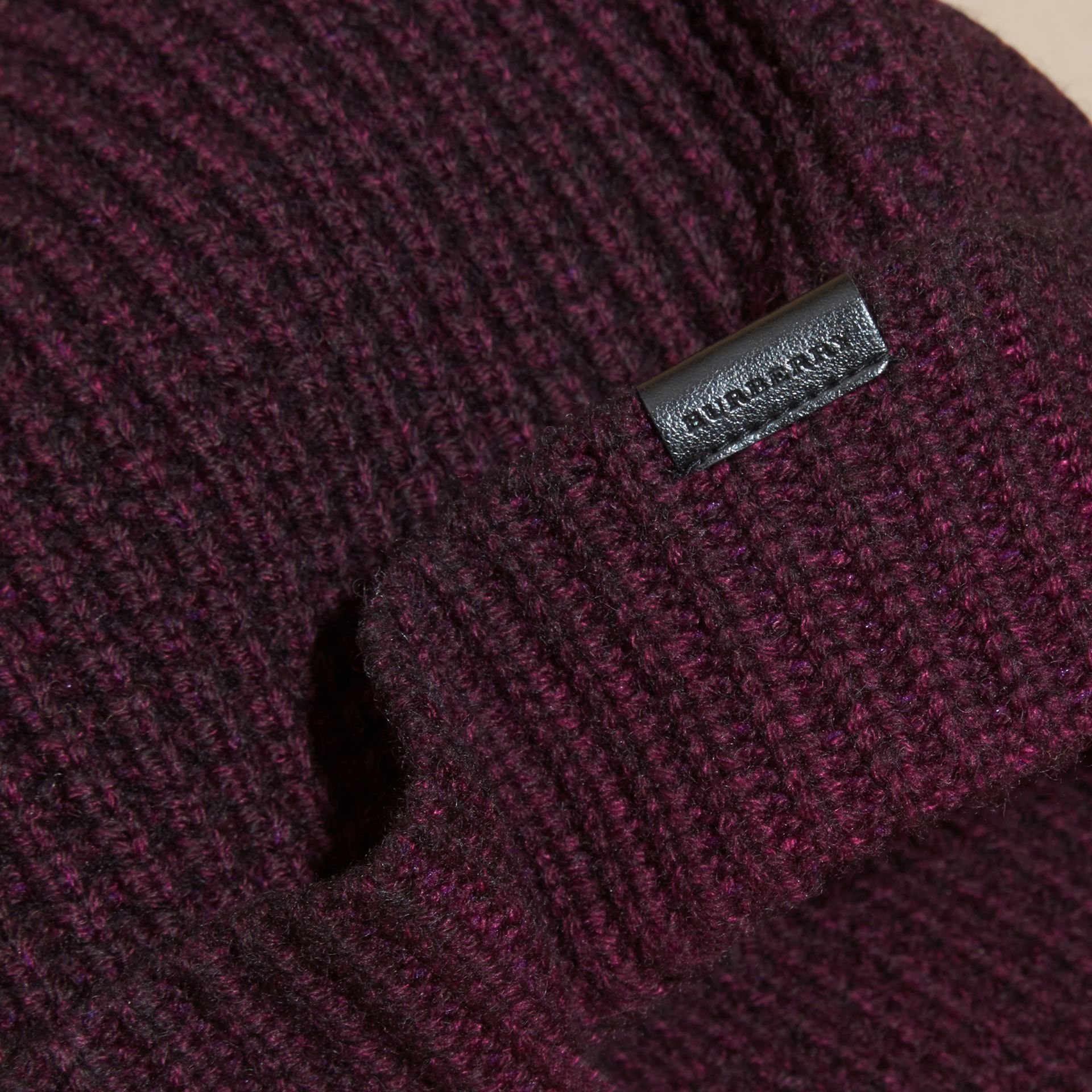 Waffle Knit Wool Cashmere Beanie - gallery image 3