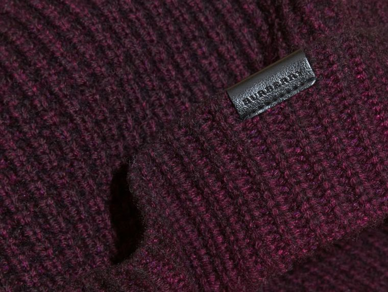Dark elderberry Waffle Knit Wool Cashmere Beanie - cell image 2