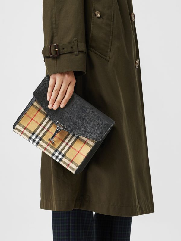 Small Vintage Check and Leather Crossbody Bag in Black - Women | Burberry United Kingdom - cell image 3
