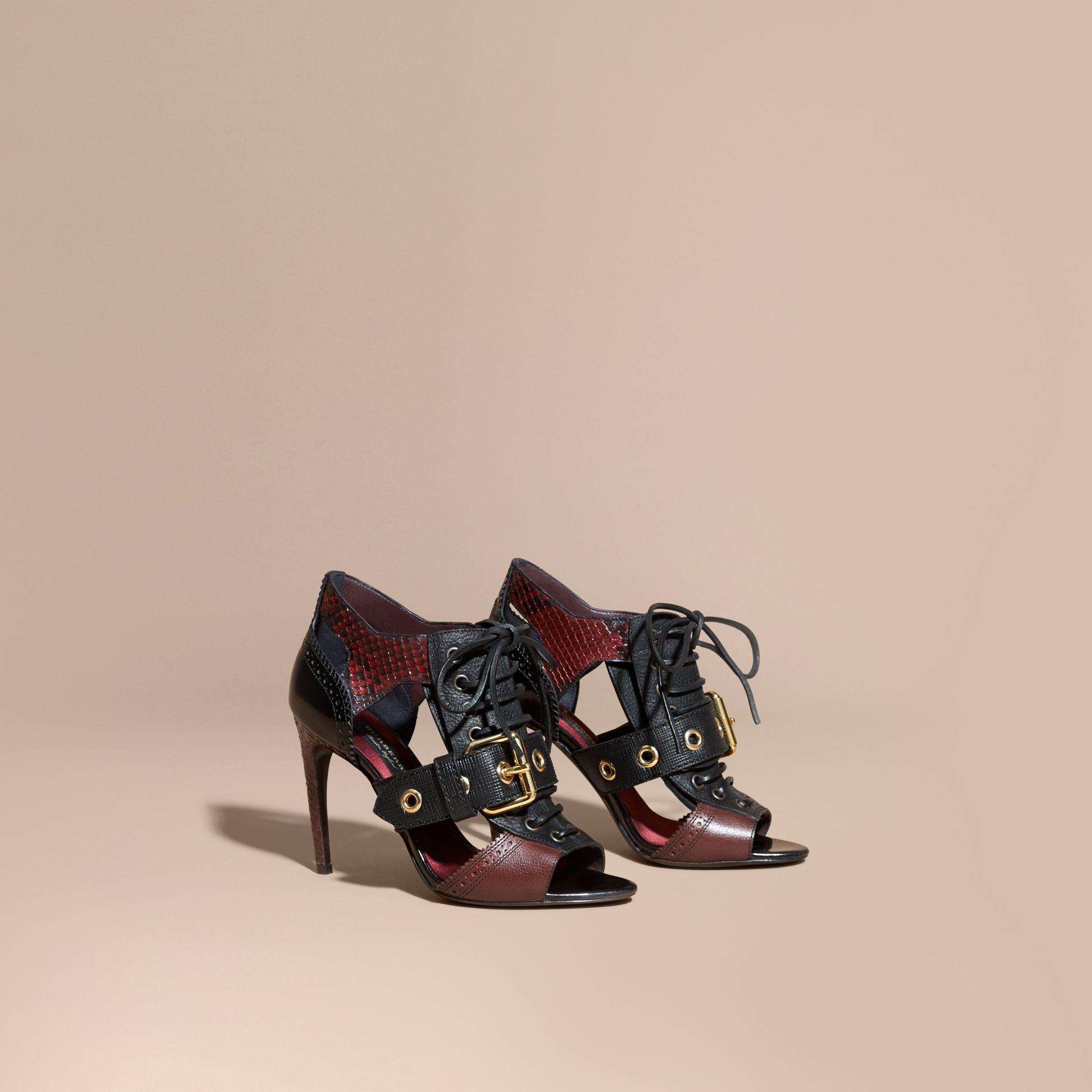 Buckle Detail Leather and Snakeskin Cut-out Ankle Boots Bordeaux - gallery image 1