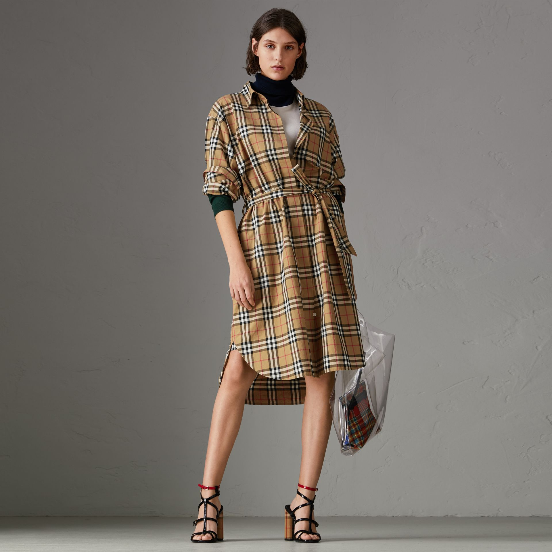 Vintage Check Cotton Tie-waist Shirt Dress in Antique Yellow | Burberry - gallery image 0