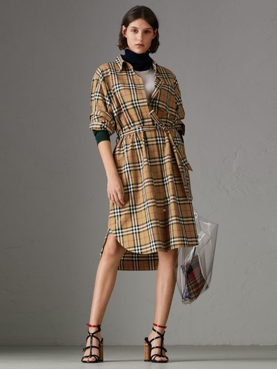Tie-waist Vintage Check Cotton Shirt Dress in Antique Yellow