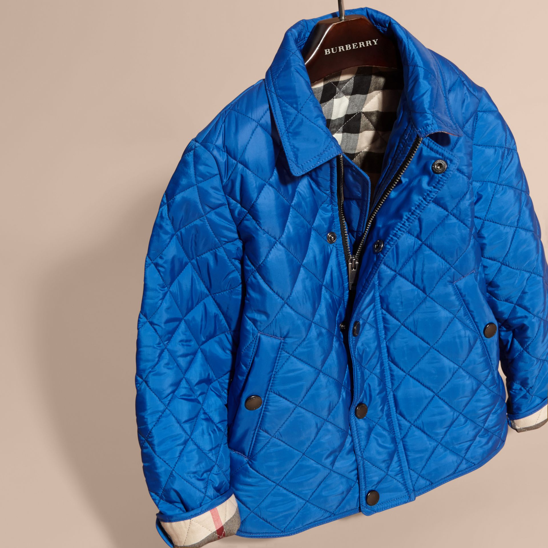 Diamond Quilted Jacket in Brilliant Blue - gallery image 3