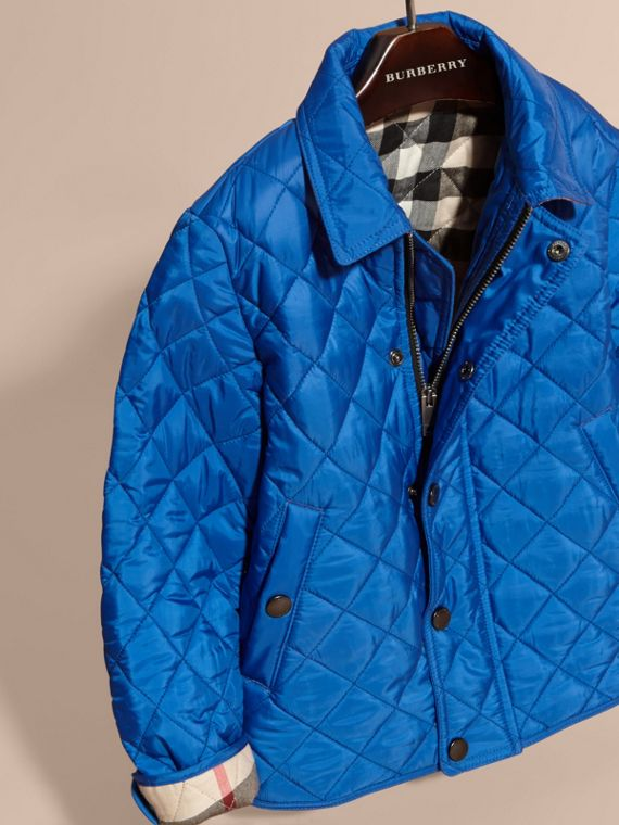 Diamond Quilted Jacket in Brilliant Blue - cell image 2