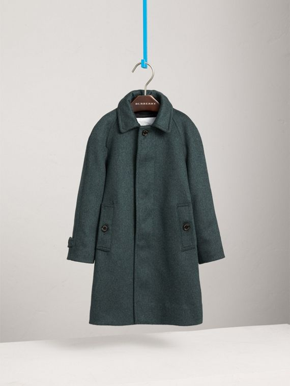 Raglan-sleeve Cashmere Car Coat in Bright Bottle Green
