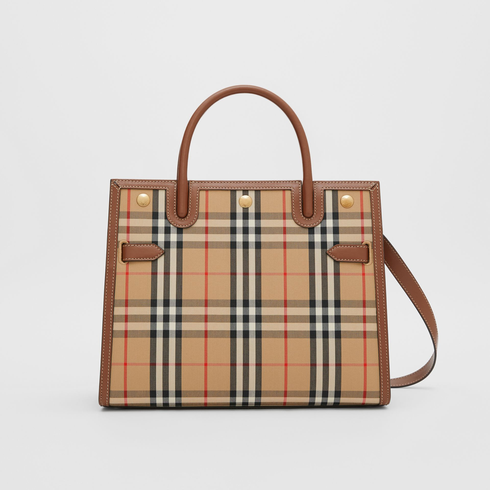 Medium Vintage Check Two-handle Title Bag in Archive Beige - Women | Burberry Canada - gallery image 0