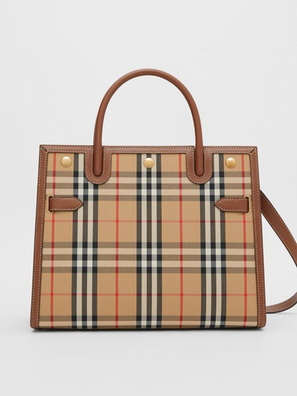 Medium Vintage Check Two-handle Title Bag in Archive Beige