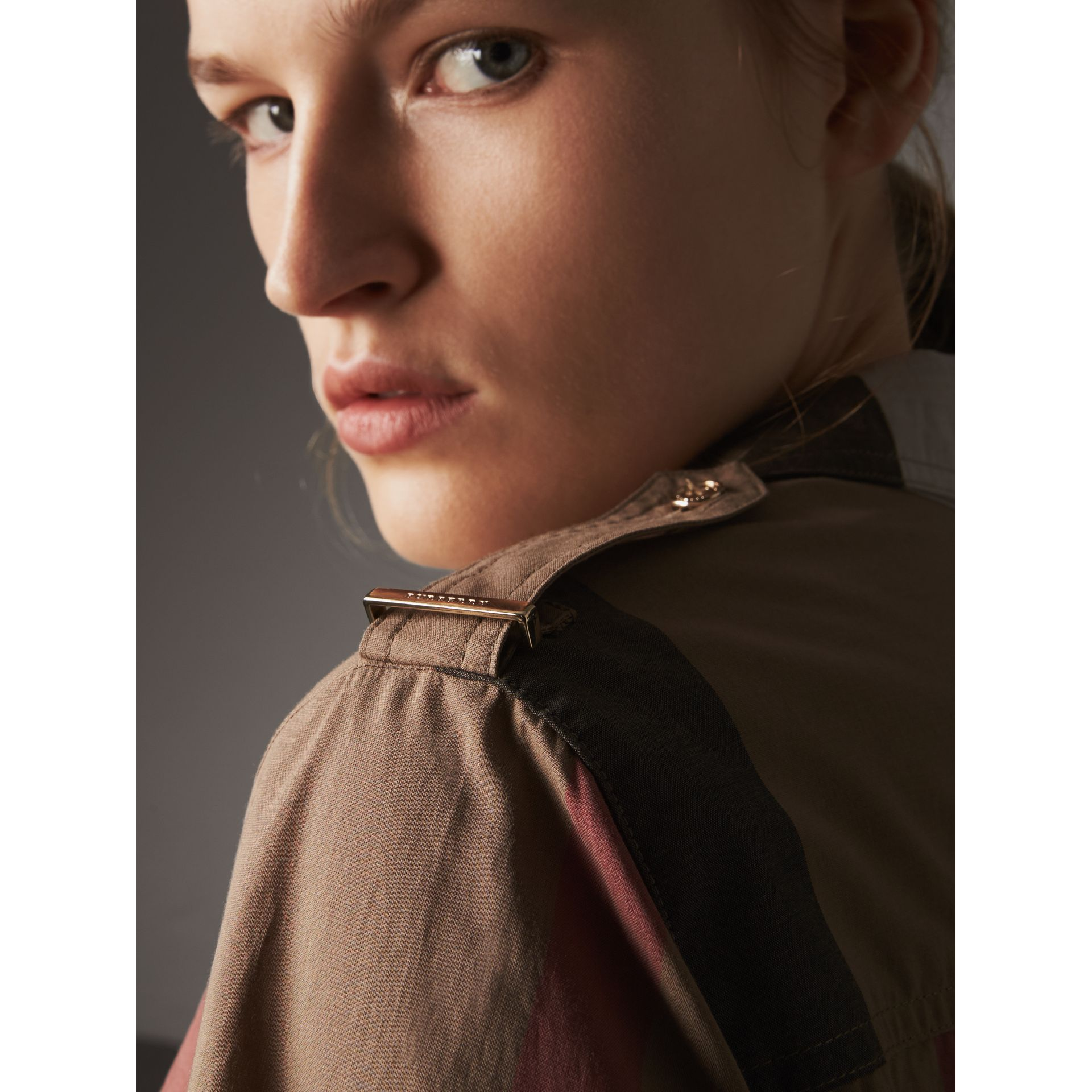 Check Cotton Shirt Dress in Taupe Brown - Women | Burberry Australia - gallery image 1