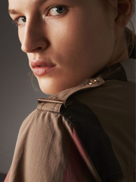 Check Cotton Shirt Dress in Taupe Brown - Women | Burberry Canada - cell image 1