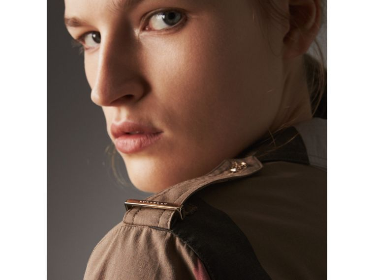 Check Cotton Shirt Dress in Taupe Brown - Women | Burberry - cell image 1