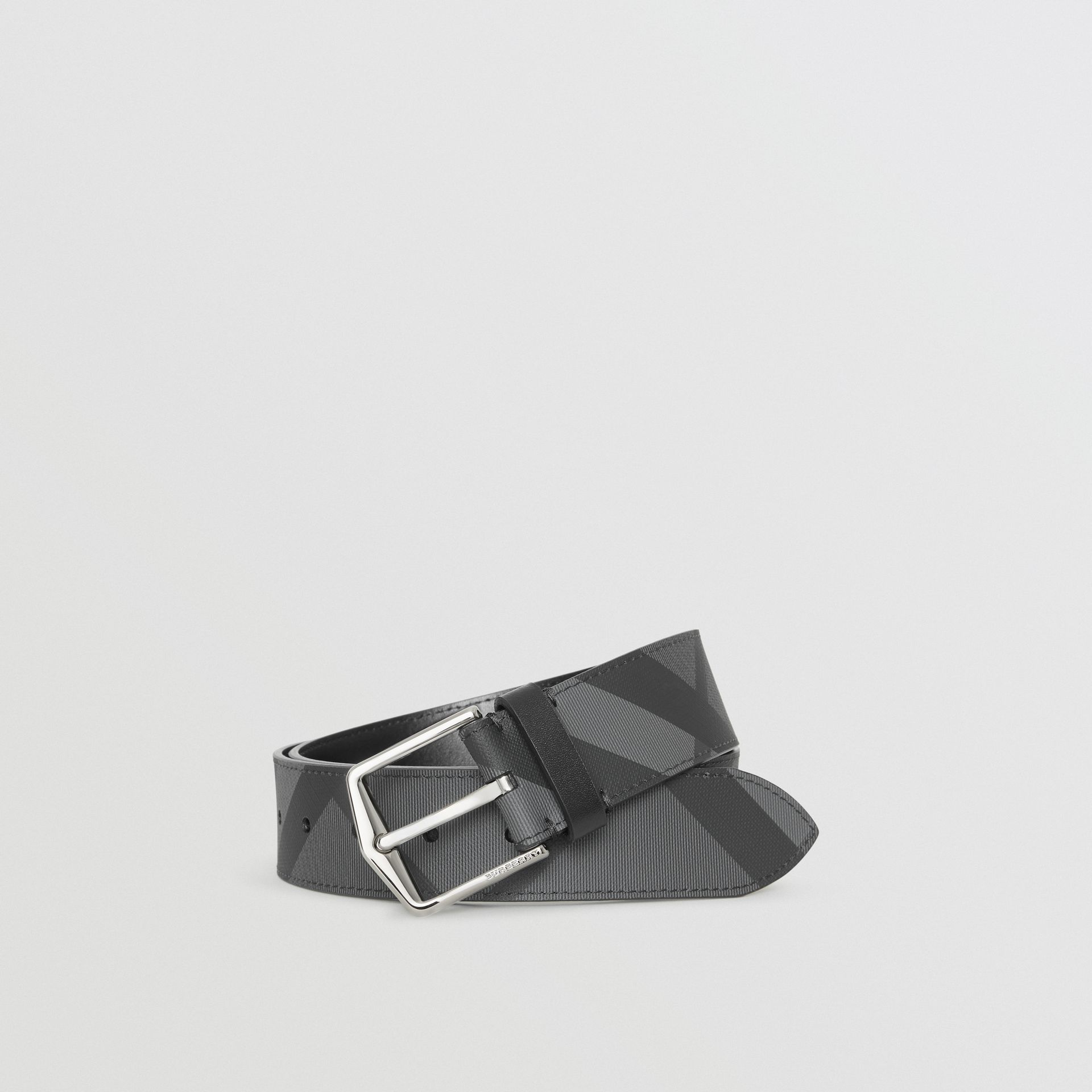 London Check Belt in Charcoal/black - Men | Burberry Australia - gallery image 0