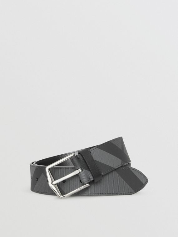London Check Belt in Charcoal/black