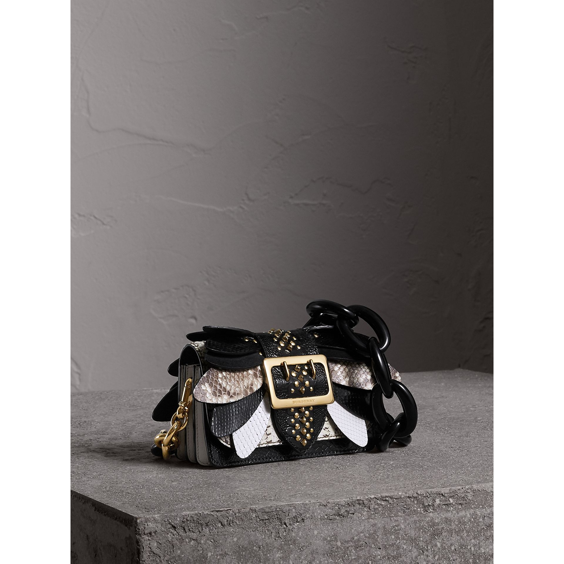 The Small Buckle Bag in Leather and Snakeskin Appliqué in Black/white - Women | Burberry - gallery image 7