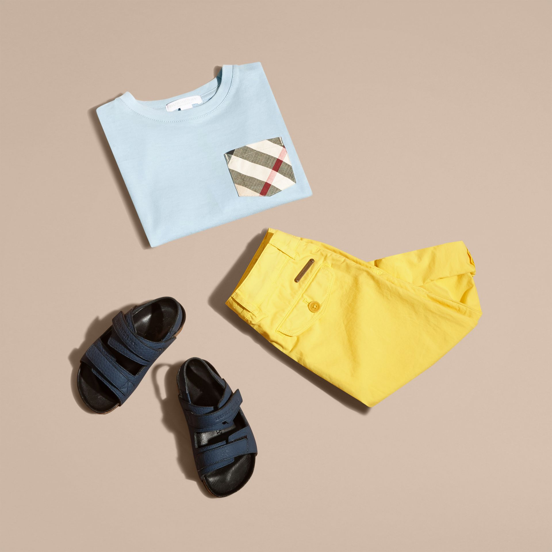 Check Pocket Cotton T-shirt in Light Blue - Boy | Burberry - gallery image 5