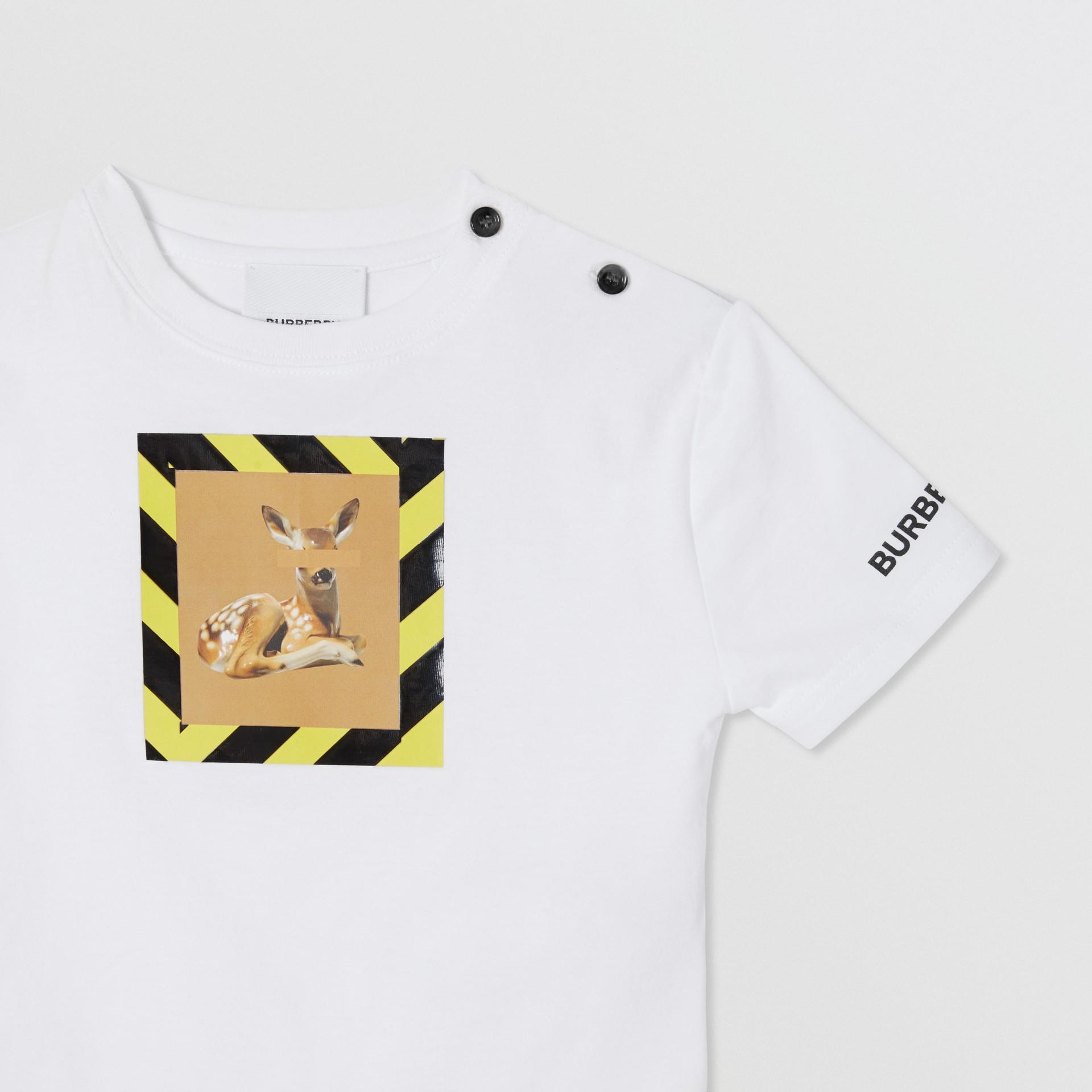Deer Print Cotton T-shirt in White - Children | Burberry United Kingdom - gallery image 4
