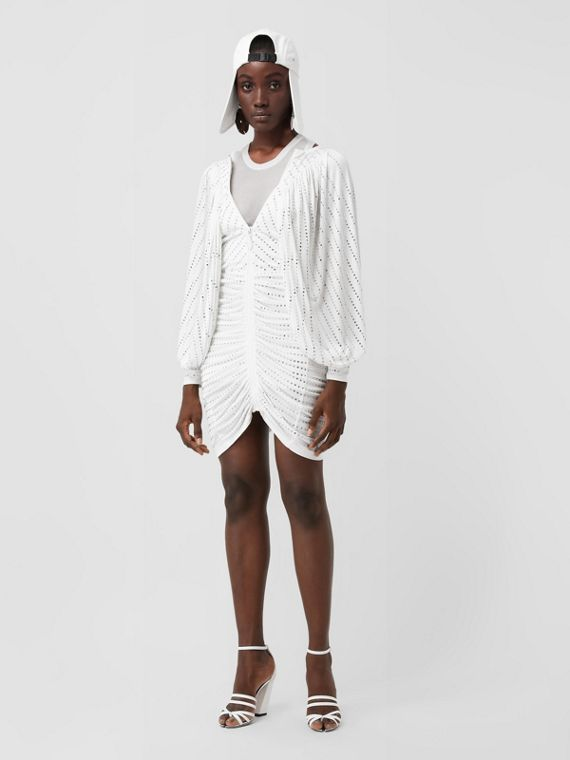Crystal Pinstriped Ruched Jersey Dress in Optic White