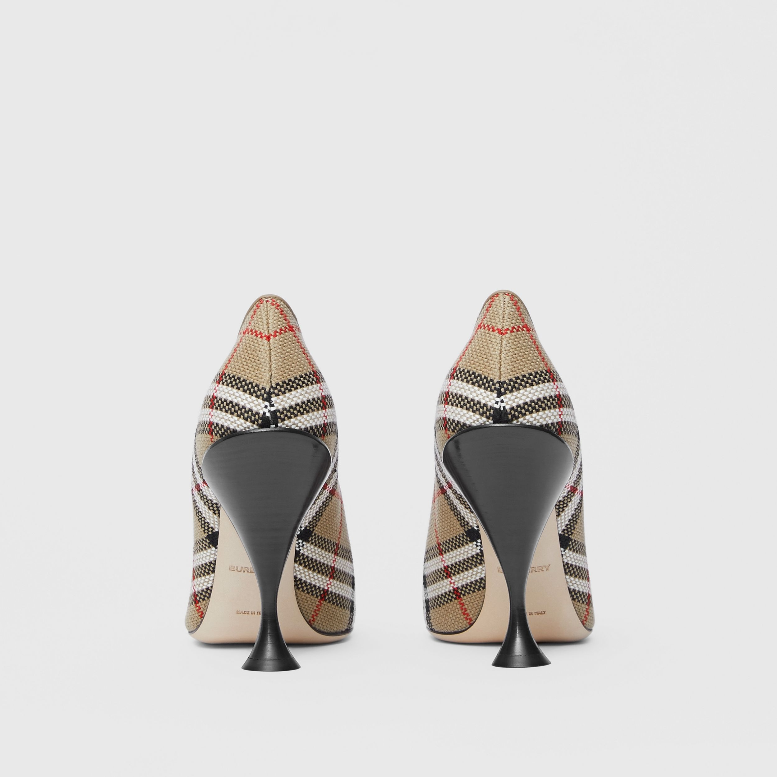 Latticed Cotton Square-toe Pumps in Archive Beige - Women | Burberry Canada - 4