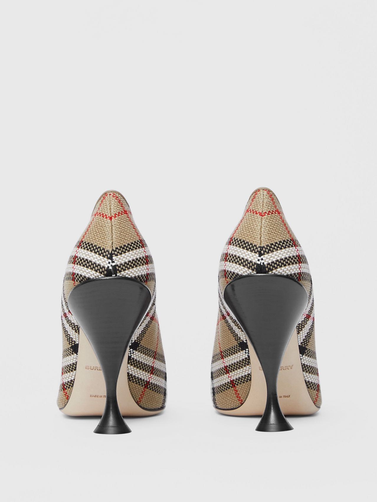 Latticed Cotton Square-toe Pumps in Archive Beige
